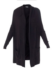 Lavand Long Cardigan With Two Pockets Black
