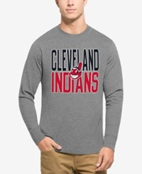 47 Brand '47 Men's Cleveland Indians Power Alley Long Sleeve T Shirt Gray