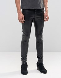 Asos Extreme Super Skinny Jeans In Faux Leather Black