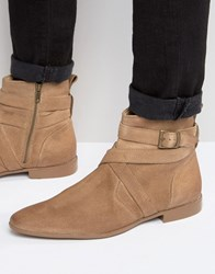 Asos Chelsea Boots In Stone Suede With Strap Detail Stone
