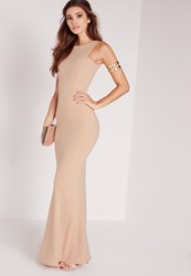 Missguided Low Back Maxi Dress Nude Beige
