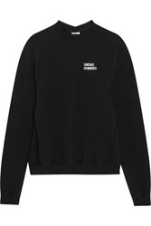 Vetements Oversized Embroidered Cotton Jersey Sweatshirt Black