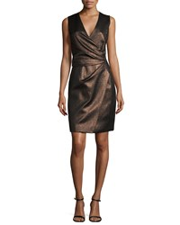 J. Mendel Sleeveless Metallic Faux Wrap Dress Bronze