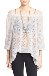 Free People 'Lights Will Shine' Sheer Off The Shoulder Sweater Heather Grey