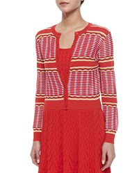 M Missoni Grid Stitched Cropped Cardigan White