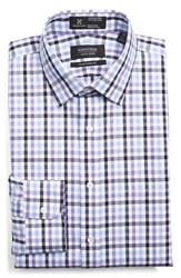 Men's Big And Tall Nordstrom Smartcare Traditional Fit Plaid Dress Shirt Purple Paisley