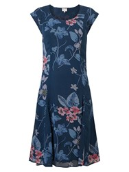 East Floral Print Dress Blue