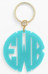 Women's Moon And Lola Personalized Monogram Key Chain Blue Robins Egg