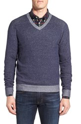 Nordstrom Men's Men's Shop Tonal Trim V Neck Sweater Navy Peacoat Combo