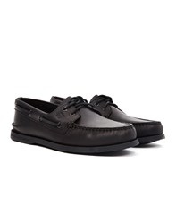Sperry All Black Leather Boat Shoe