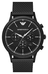 Men's Emporio Armani Chronograph Mesh Strap Watch 43Mm