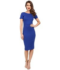 Unique Vintage Short Sleeve Stretch Mod Wiggle Dress Royal Blue Women's Dress