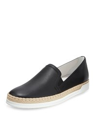 Tod's Leather Espadrille Sneaker Black