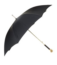 Alexander Mcqueen Gold Skull Handle Long Umbrella Unisex Black