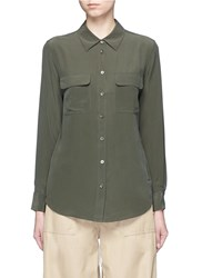 Equipment 'Slim Signature' Silk Shirt Green