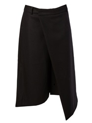 Moohong Wrap Style Cropped Trousers Black