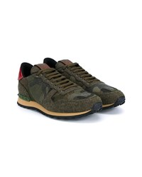Valentino Rockstud Camouflage Wool And Leather Sneakers Green Almond Red Khaki Green Blue Denim