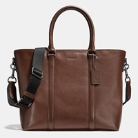 Coach Metropolitan Tote In Sport Calf Leather Black Antique Nickel Mahogany