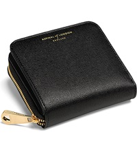 Aspinal Of London Mini Continental Leather Coin Purse Black