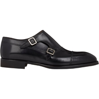 Di Bianco Cap Toe Double Monk Shoes Black