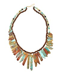 Panacea Jasper And Wood Beaded Statement Necklace Women's