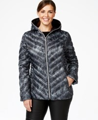 Laundry By Shelli Segal Plus Size Printed Packable Puffer Coat Grey White