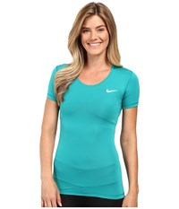 Nike Pro Cool Short Sleeve Shirt Teal Charge White Women's Short Sleeve Pullover Blue