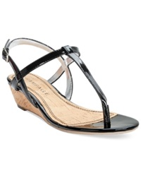 Rampage Selery Demi Wedge Thong Sandals Women's Shoes Black