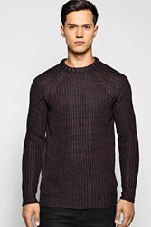 Boohoo Knit Mixed Colour Crew Neck Sweater Plum