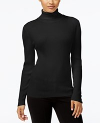 Styleandco. Style Co. Petite Ribbed Turtleneck Sweater Only At Macy's Deep Black