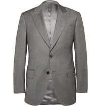 Gieves And Hawkes Grey Slim Fit Sharkskin Wool Suit Jacket Gray