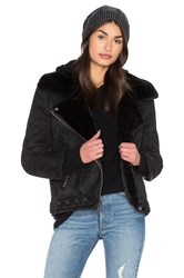 Dolce Vita Veronica Jacket With Faux Fur Lining Black