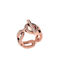 Michael Kors Pave Rose Gold Tone Chain Link Ring