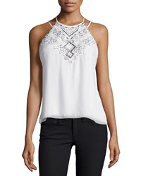 Parker Neil Sleeveless Embellished Top Ivory