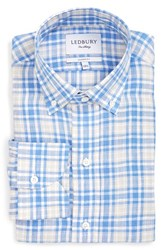 Ledbury Men's 'Haviland' Classic Fit Plaid Linen Dress Shirt