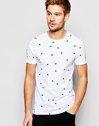 Asos Muscle T Shirt With Random Polka Dot White