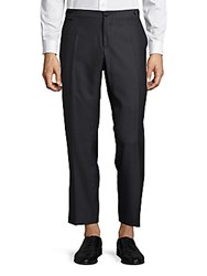 Dolce And Gabbana Wool Blend Flat Front Pants Charcoal