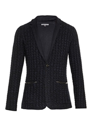 John Varvatos Cable Knit And Leather Trim Cardigan