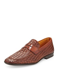 Magnanni For Neiman Marcus Slip On Woven Penny Loafer Cognac