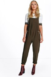 Boohoo Cargo Pocket Strap Back Jumpsuit Khaki
