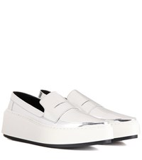 Kenzo Platform Leather Loafers Silver