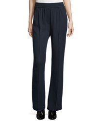 3.1 Phillip Lim Smocked Boot Cut Stretch Pants Navy