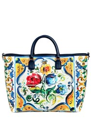 Dolce And Gabbana Lara Maiolica Faux Leather Tote Bag