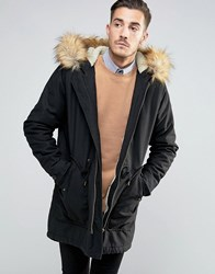 Asos Parka Jacket In Black With Faux Fur Lining Black