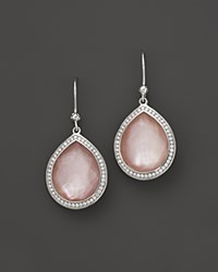 Ippolita Sterling Silver Stella Teardrop Earrings In Pink Mother Of Pearl With Diamonds