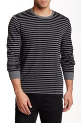 Kenneth Cole Striped Crew Neck Sweater Gray