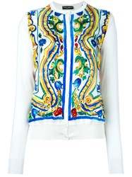 Dolce And Gabbana Majolica Print Panel Cardigan Nude And Neutrals