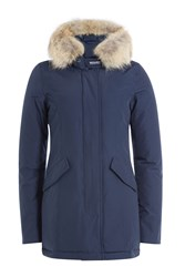 Woolrich Arctic Down Parka With Fur Trimmed Hood Blue