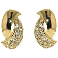 Finesse Swarovski Crystal Twist Clip On Earrings Gold