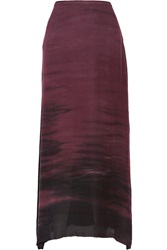 Raquel Allegra Sunset Tie Dyed Washed Silk Crepe Maxi Skirt